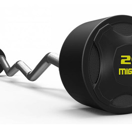 Mighty rubbered curved barbell yellow.jp