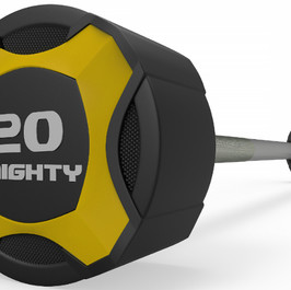 Mighty urethane straight barbell yellow.