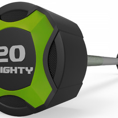 Mighty urethane straight barbell green.j