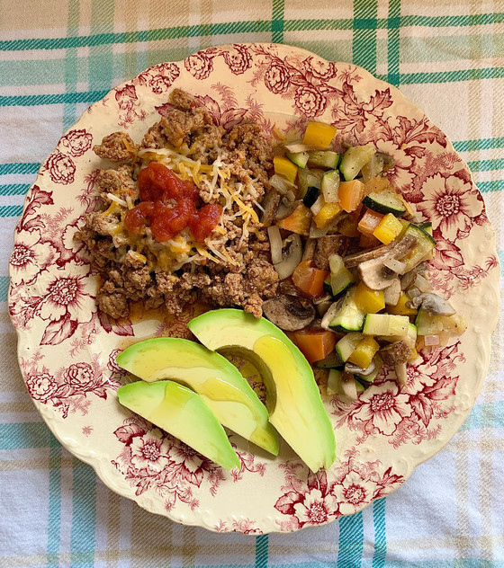 Keto Lunch, Meal #4 Turkey Taco Meat with Sautéed Veg and Avocado