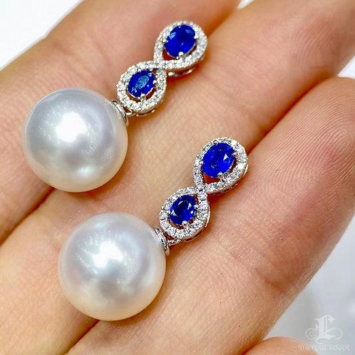 0.72 ct Sapphire AAAA 11-12 mm South Sea Pearl Earrings, 18k Gold w/ Diamond
