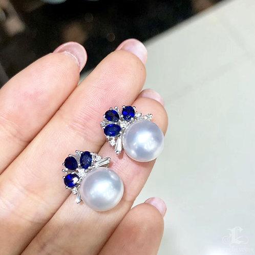 1.26ct Sapphire, AAAA 9-10 mm South Sea Pearl Earrings 18k Gold w/ Diamond