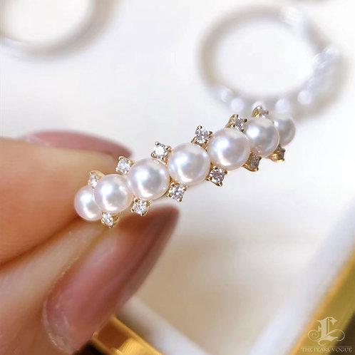 AAAA 3-3.5 mm Baby Akoya Pearl Ring 18k Gold w/ Diamond