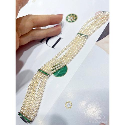 0.98 ct Emerald, AAAA 3-3.5  mm Akoya Pearl Bracelet 18k Gold
