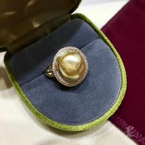 0.45ct Diamond KESHI 11 x 12mm Wild South Sea Pearl Ring 18k Gold