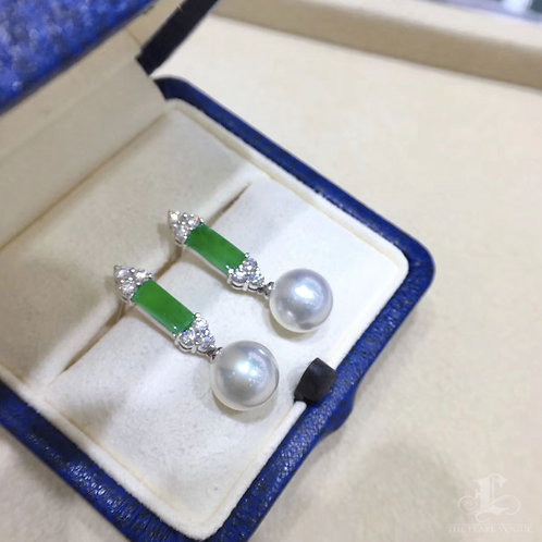 0.65ct Diamond AAAA 9-9.5 mm South Sea Pearl Earrings 18k Gold w/ Jadeite