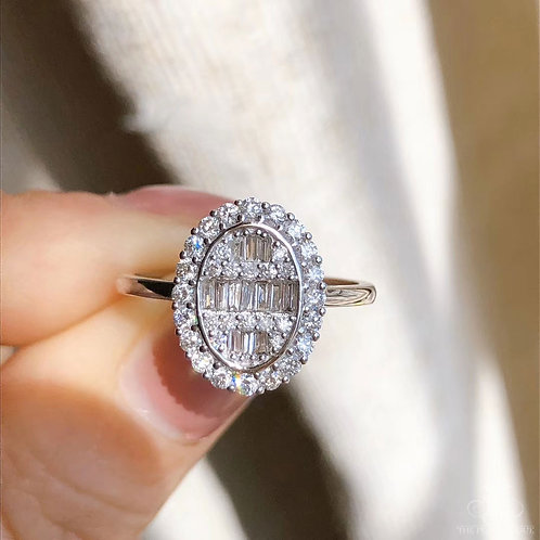 0.50 ct FG/SI Natural Diamond Micro-Pave Ring 18K Gold
