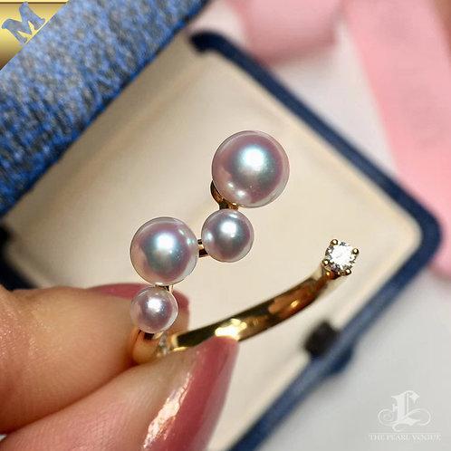PMS 4-7mm Baby Akoya Luxury Pearl Adjustable Ring 18k Gold w/ Diamond - AAAA