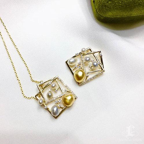 0.35ct Diamond KESHI 4-6mm Wild Golden South Sea Pearl Pendant, 18k Gold