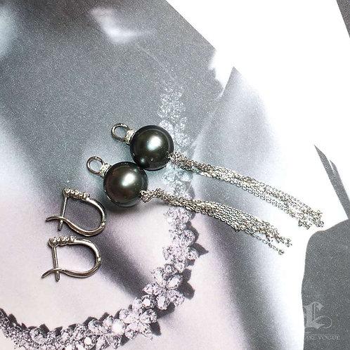 AAAA 10-11mm Tahitian Pearl Earrings 18k Gold w/ Diamond