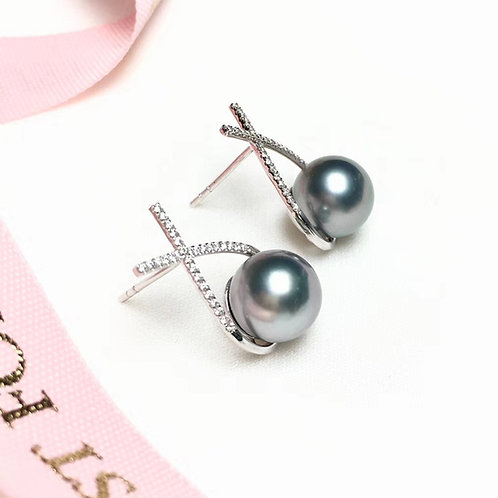 0.28ct Diamond AAAAA 9-10 mm Tahitian Pearl Earrings, 18k White Gold