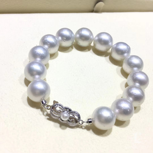 12-14 mm White South Sea Pearl Bracelet, 14k Gold - AAA