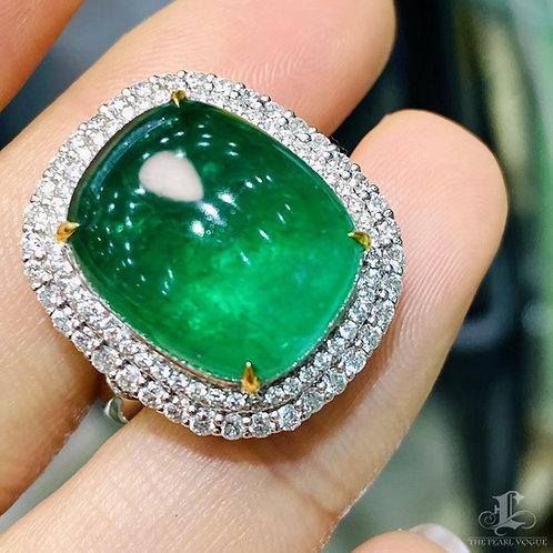 10.57 ct Natural Vivid Green Emerald Ring Pendant 18k Gold Diamond