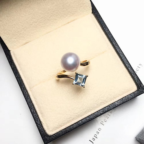 0.65ct Natural Aquamarine AAAA 8.5-9mm Akoya Pearl Ring 18k Gold