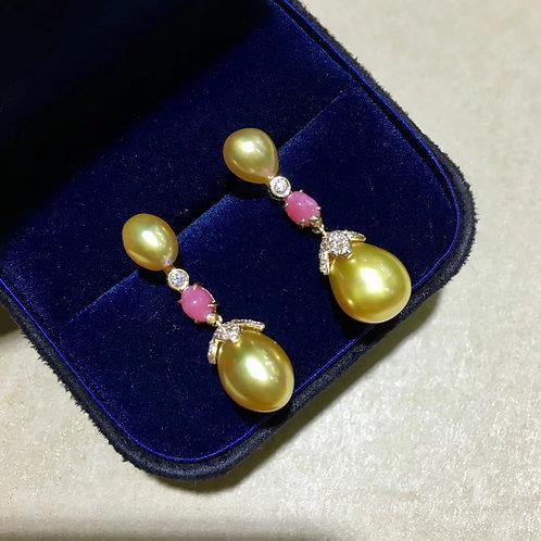 0.98ct Diamond KESHI 9 x 13 mm Wild South Sea Pearl Earrings 18k Gold w/ Diamond