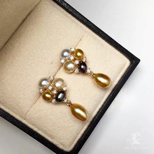 0.15ct Diamond KESHI 3-6mm Wild South Sea Pearl & Tahitian Earrings 18k Gold