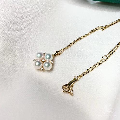 AAAA 5.5-6 mm Akoya Pearl Fashion Pendant, 18k Gold w/ Diamond