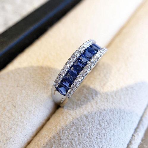 1.00 ct Natural Royal Blue Ring 18k Gold Diamond