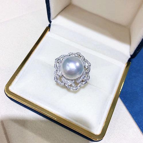 0.68 ct Diamond, AAAA 13-14mm South Sea Pearl Luxury Ring Pendant 18k Gold