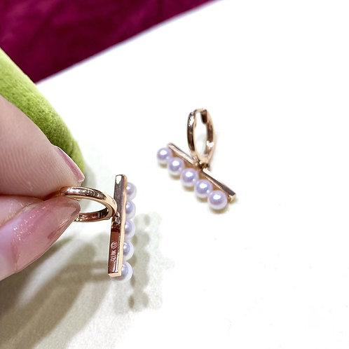Famous Style! AAAA 3.5-4 mm Baby Akoya Pearl Balance Earrings 18k Gold