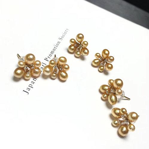 0.06ct DiamondKESHI 3-6mm Wild Golden South Sea Pearl Earrings 18k Gold