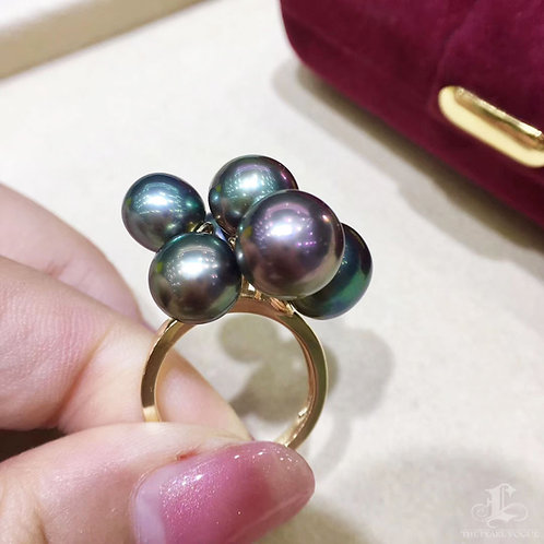 AAAA 8-11 mm Multicolor Tahitian Pearl Ring 18k Gold
