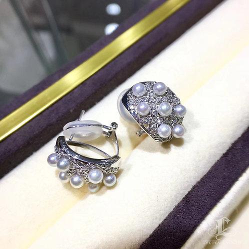 0.28ct Diamond, AAAA 3-4 mm Baby Akoya Pearl Earrings 18k Gold