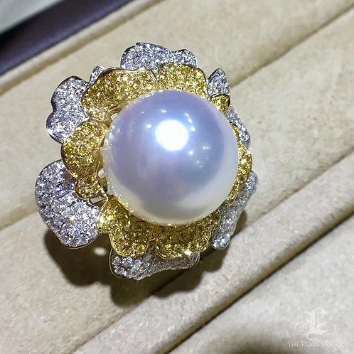 CUSTOMIZE | 1.995ct Diamond AAAA 14-15 mm South Sea Pearl Luxury Ring, 18k Gold