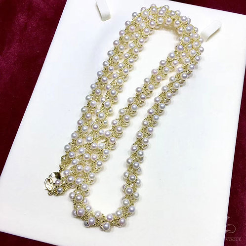 69.5g 18k Gold,  70cm, AAAA 4-5 mm Akoya Pearl Classic Multi-Strand Necklace