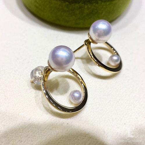 AAAA 7-7.5 mm Akoya Pearl Fashion Earring Jackets 18k Gold