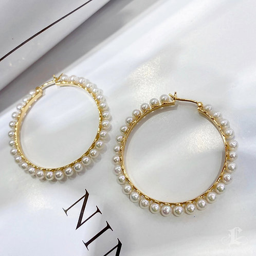 AAAA 3-3.5 mm Akoya Pearl Earrings 18k Gold