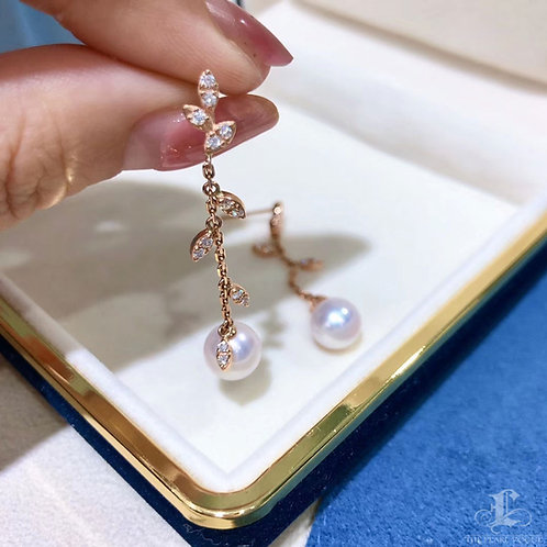 Famous Style! AAAA 8-8.5 mm Akoya Pearl Earrings 18k Gold