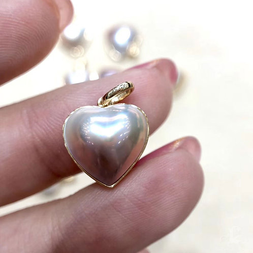 AAAA 12-13 mm  Mabe Pearl Heart Pendant 18k Gold