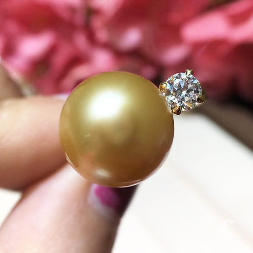 GIA 0.30ct Diamond AAAA 11-12mm Golden South Sea Pearl Ring, 18k Gold