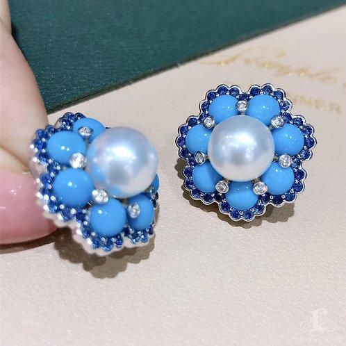 7.40 ct Turquoise, AAAA 9.5-10 mm South Sea Pearl Earrings 18k Gold w/ Sapphire