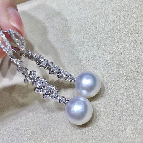 1.65ct Diamond, AAAA 12-13 mm South Sea Pearl Luxury Earrings 18k Gold