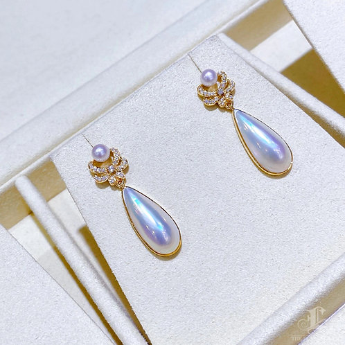 0.20 ct Natural Diamond, Aurora Drop Mabe Pearl Earrings 18k Gold w/ Akoya Pearl