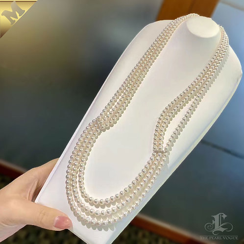 PMS 70cm Long Necklace, 5-5.5 mm Baby Akoya Pearl Triple Strand 18k Gold Diamond