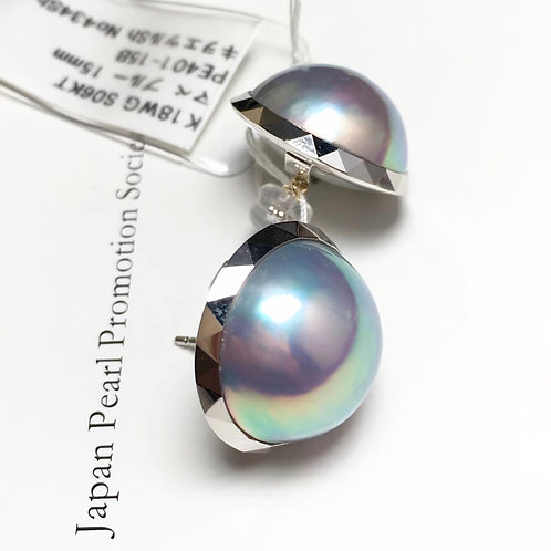 15-16mm Mabe Pearl Earrings 18k White Gold - AAAA