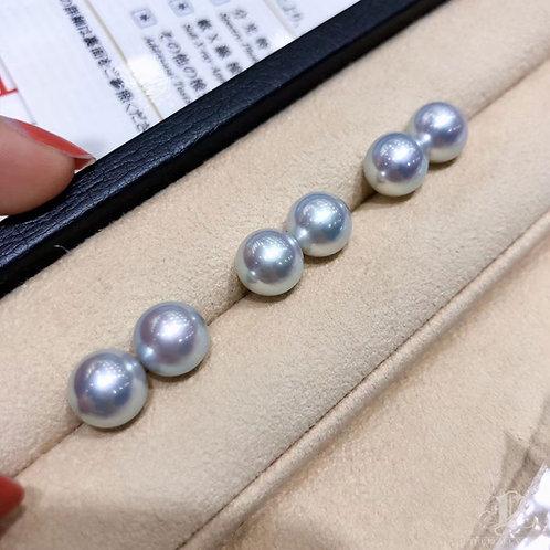 PAIR   9.5 mm Aurora Madama 真多麻 Akoya Loose Pearl w/ Japanese Certificate