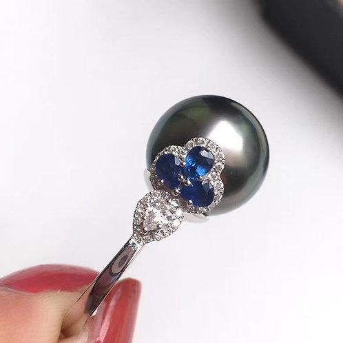 1.80ct Diamond AAAA 14-15mm Tahitian Pearl Ring, 18k Gold w/ Diamond