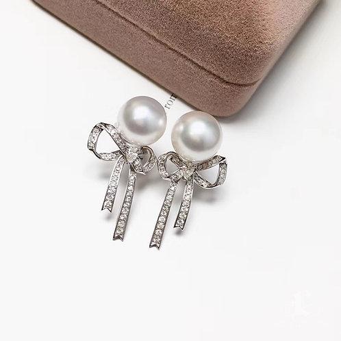 0.63ct Diamond AAAA 10-11mm South Sea Pearl Earrings, 18k White Gold