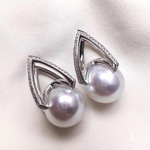 0.38ct Diamond AAAA 11-12 mm South Sea Pearl Classic Earrings, 18k Gold