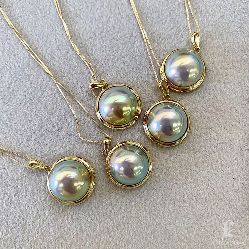 Aurora AAAA 13-14 mm Mabe Pearl Pendant 18k Gold