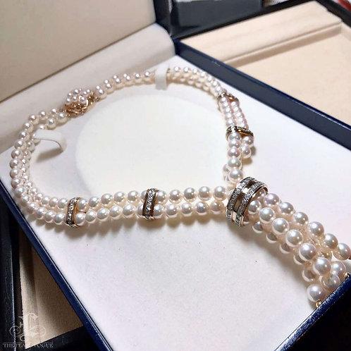 41cm, 1.31ct Diamond AAAA 6.5-7 mm Akoya Pearl Double Strand Necklace 18k Gold