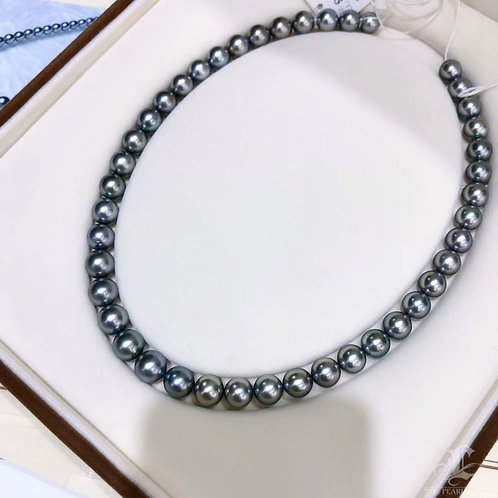 45cm 8-10.5 mm Black Queen Tahitian Pearl Necklace w/ Japanese Certificate