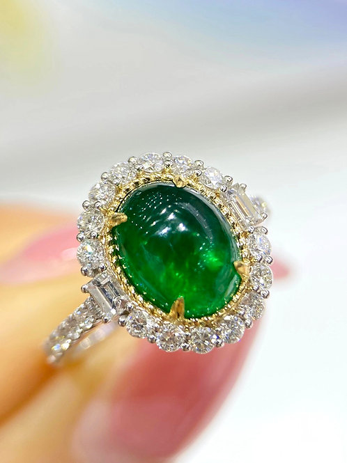 2.7 ct Natural Green Emerald Ring 18k Gold w/ 0.68 ct Diamond