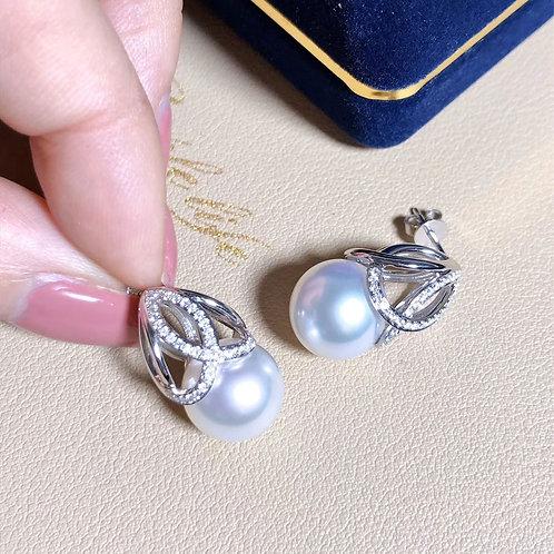 0.32 ct Diamond, AAA 11-12 mm South Sea Pearl Earrings 18k Gold