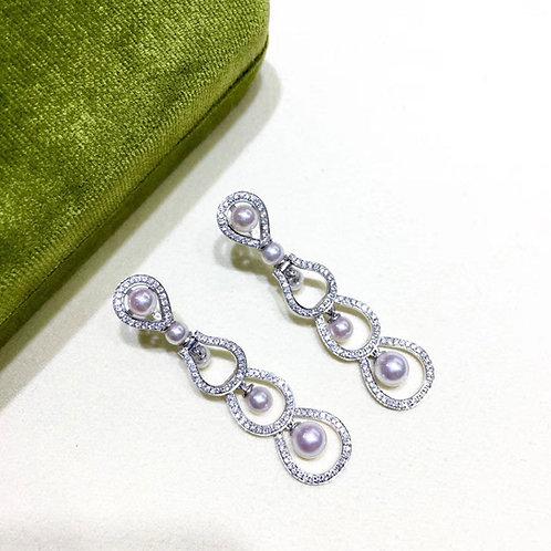 0.85ct Diamond, AAAA 4-6 mm Akoya Pearl Luxury  Earrings, 18k Gold