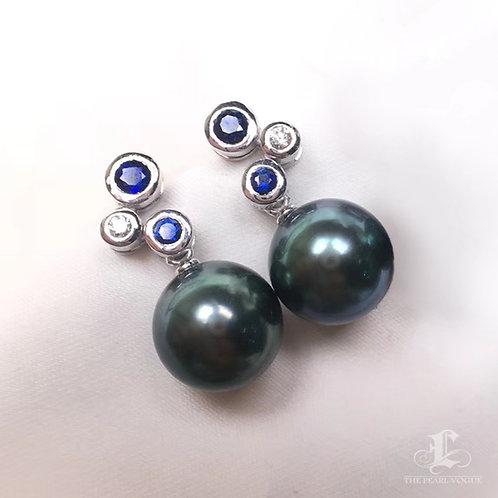 AAAA 10-11mm Tahitian Pearl Earrings, 18k White Gold w/ Diamond